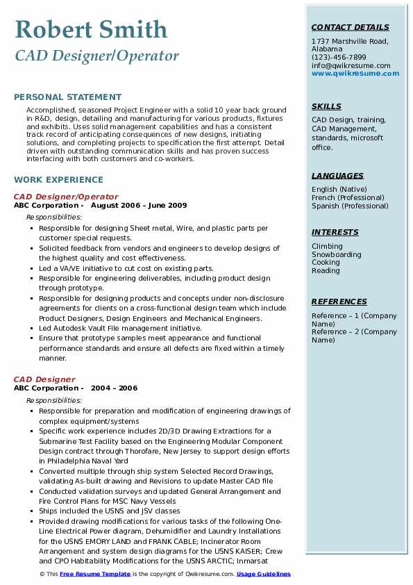 CAD Designer/Operator  Resume Example