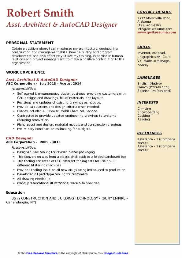 cad designer resume samples