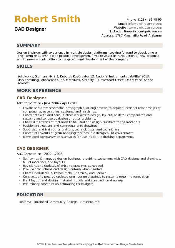 CAD Designer Resume Samples | QwikResume