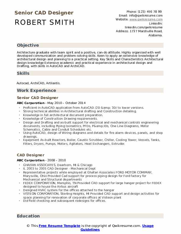 Senior CAD Designer Resume Format