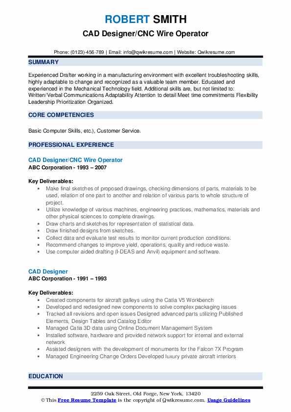 CAD Designer/CNC Wire Operator Resume Example