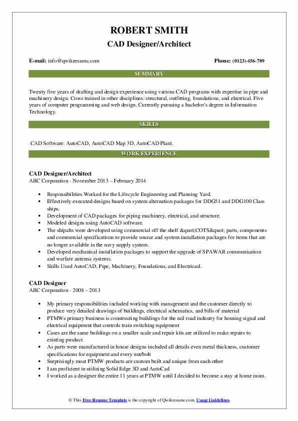 CAD Designer/Architect Resume Template