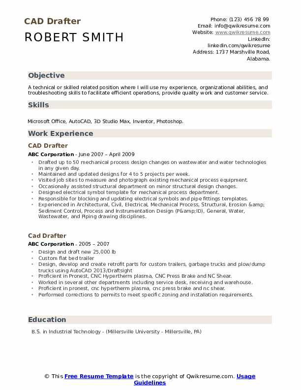 Cad Drafter Resume Samples | QwikResume