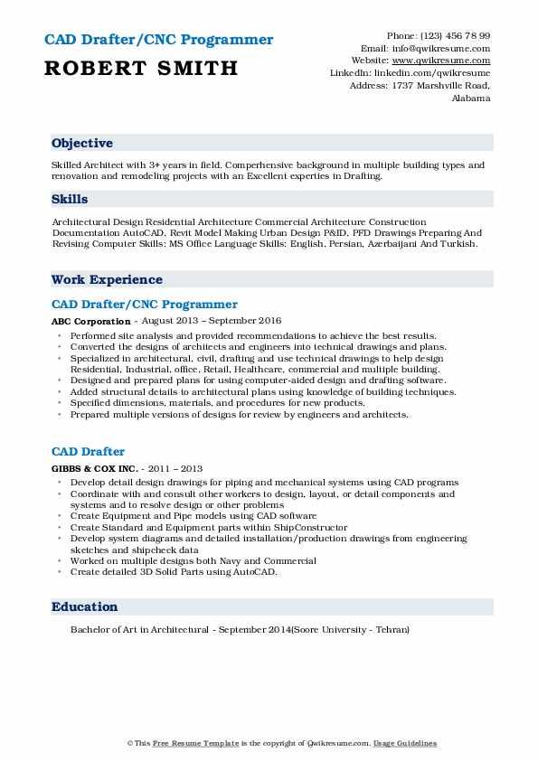 CAD Drafter/CNC Programmer Resume Sample