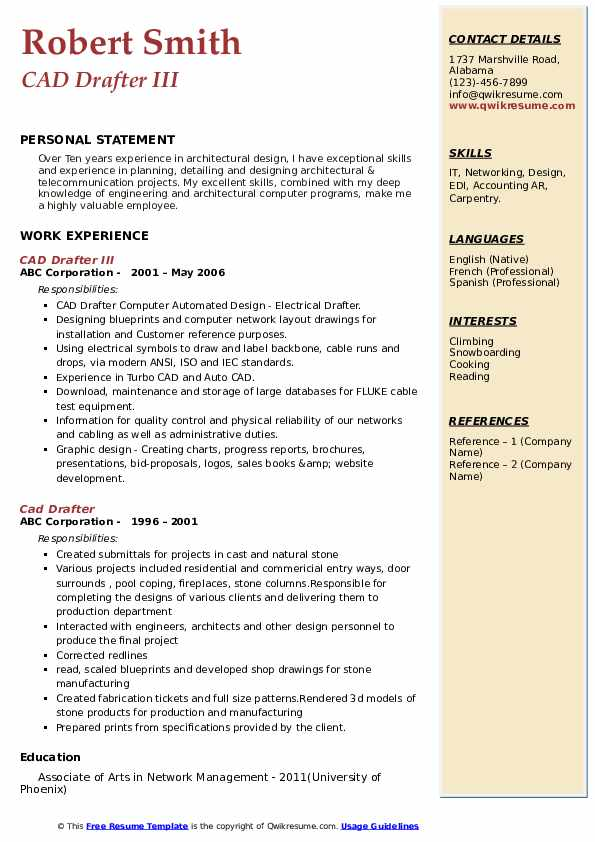 CAD Drafter III Resume Template