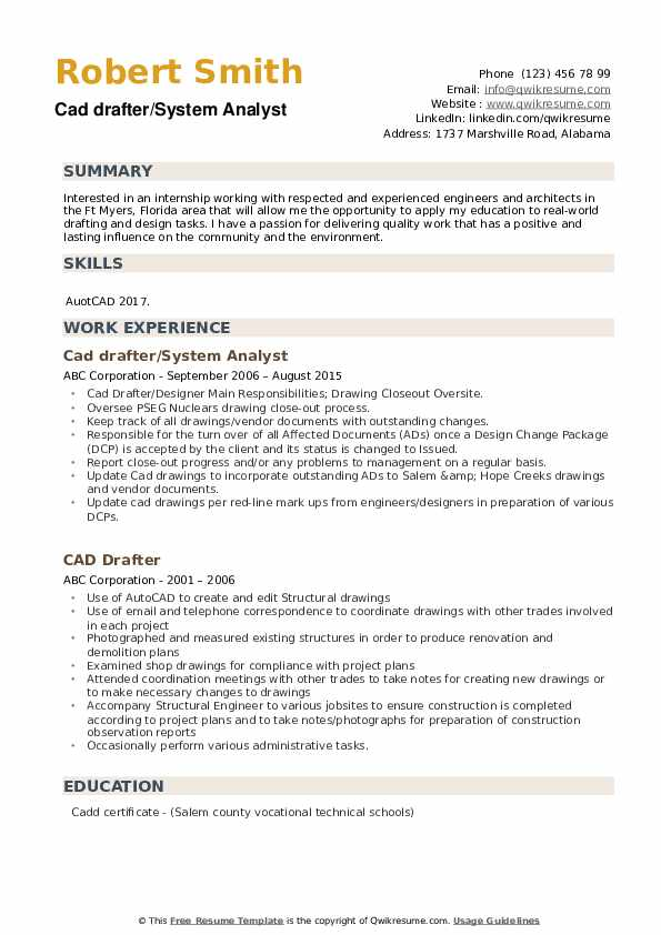 Cad drafter/System Analyst Resume Format