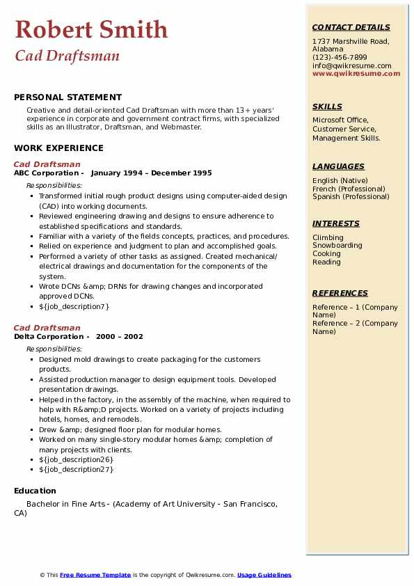 cad draftsman resume samples  qwikresume