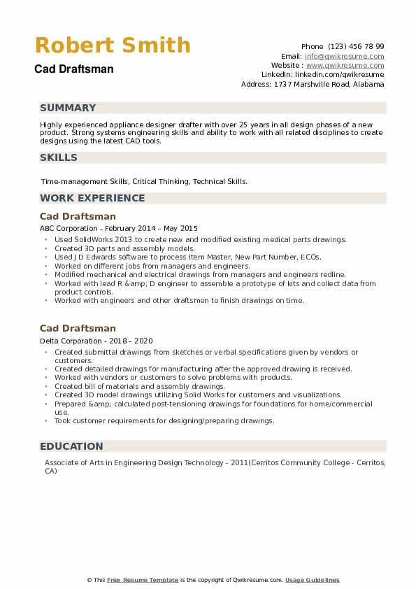 Cad Draftsman Resume example