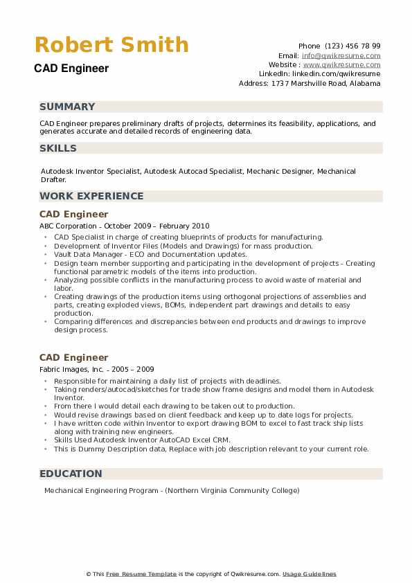 CAD Engineer Resume example