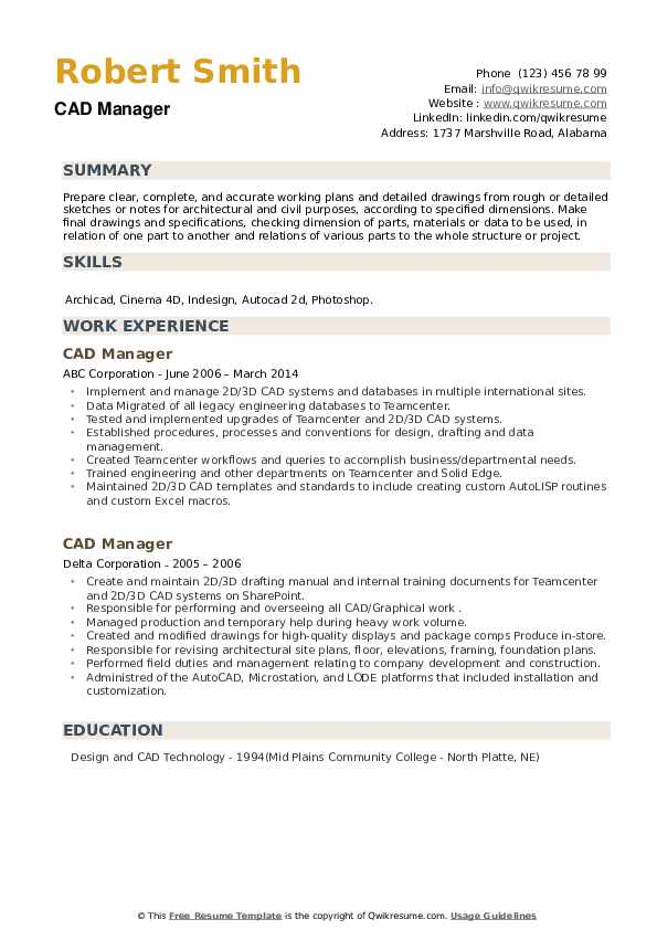 CAD Manager Resume example