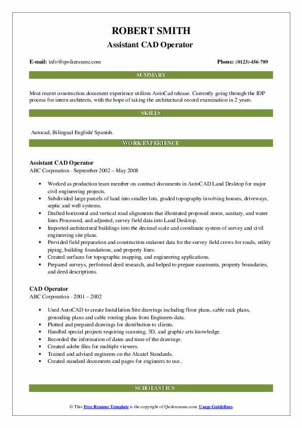 Assistant CAD Operator  Resume Format