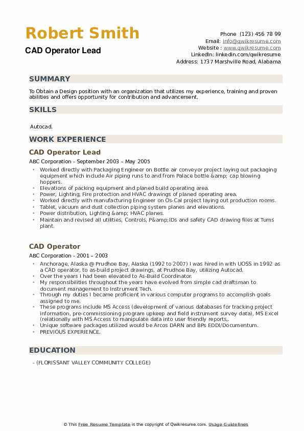 CAD Operator Lead Resume Format