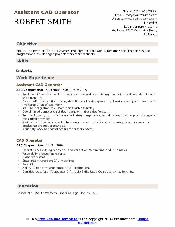 Assistant CAD Operator Resume Template