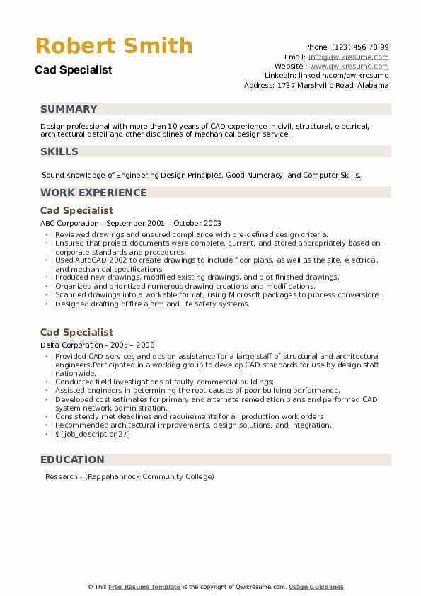 Cad Specialist Resume example