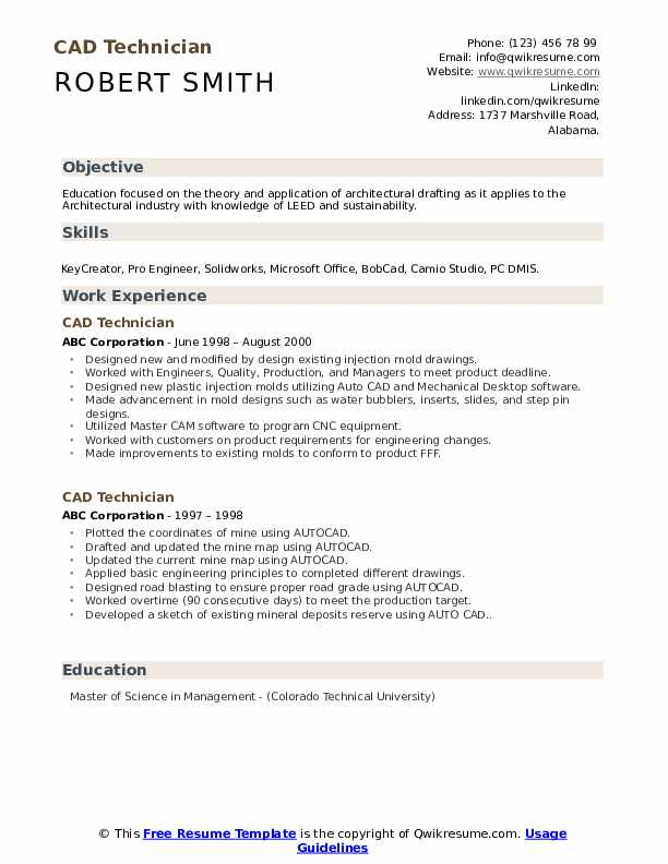 Cad Technician Resume Samples Qwikresume