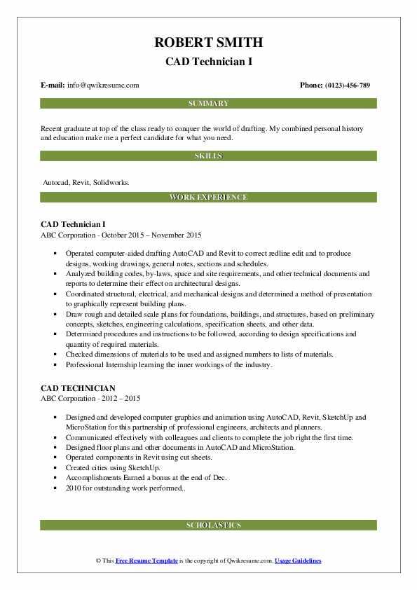 CAD Technician I Resume Example