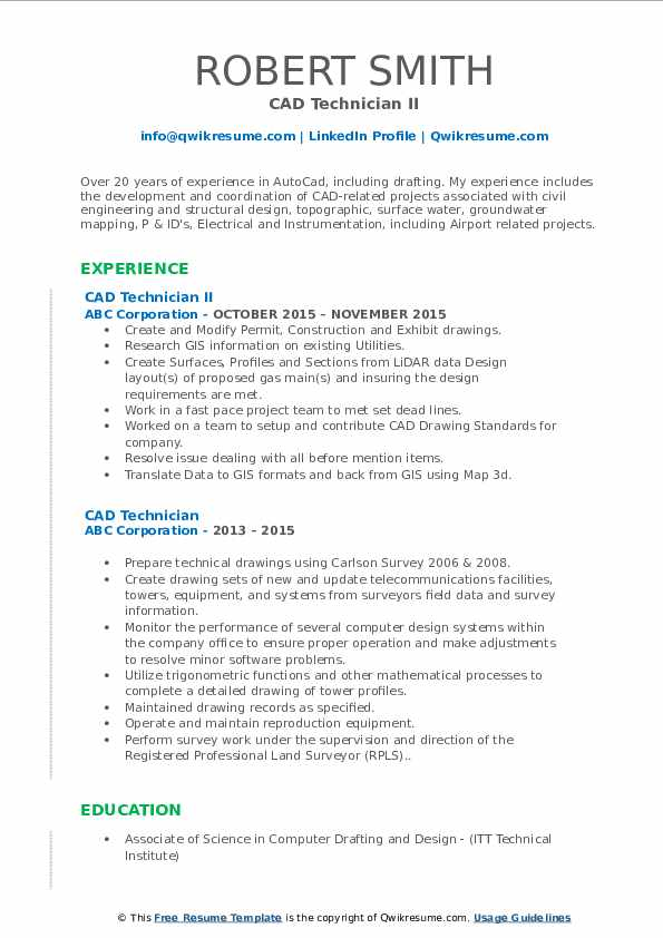 CAD Technician II Resume Model