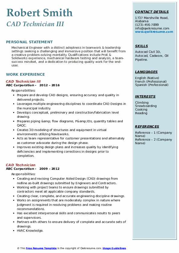 CAD Technician III Resume Format