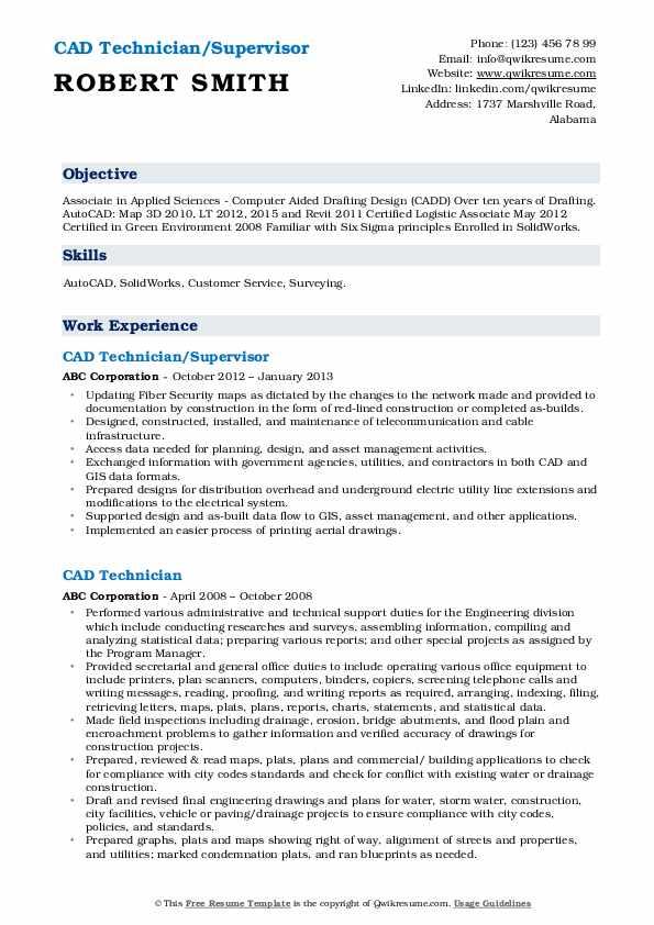 CAD Technician/Supervisor Resume Example
