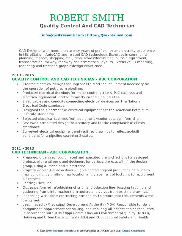 Quality Control And CAD Technician Resume Format