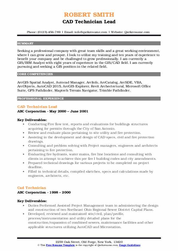 cad technician resume samples