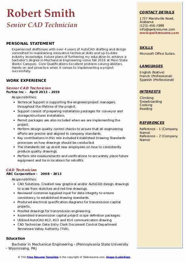 Senior CAD Technician Resume Sample