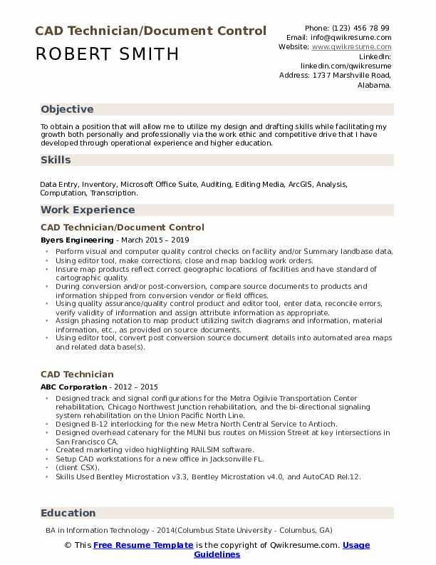 CAD Technician/Document Control Resume Example