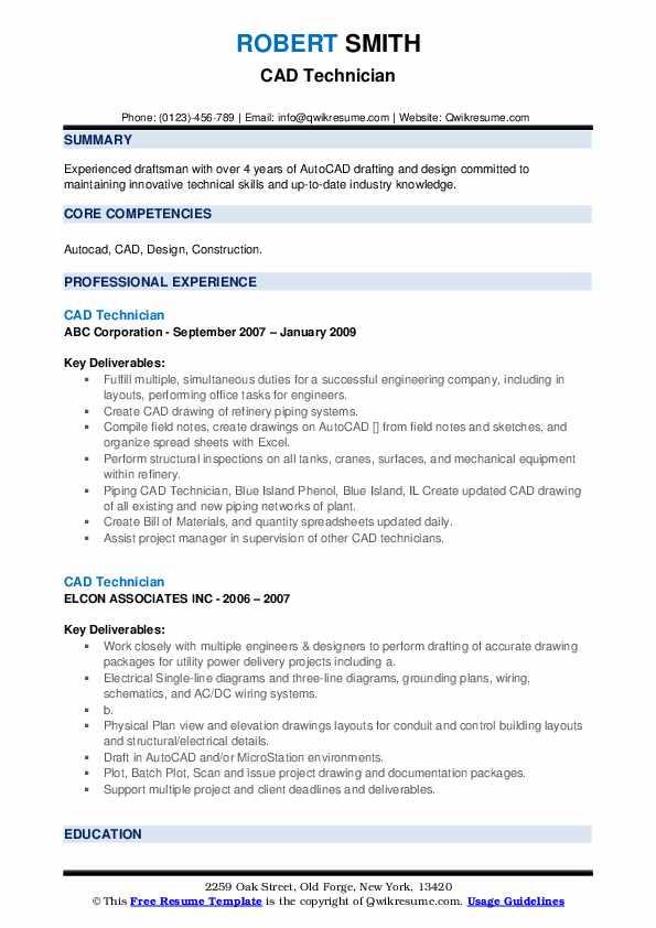 CAD Technician Resume example