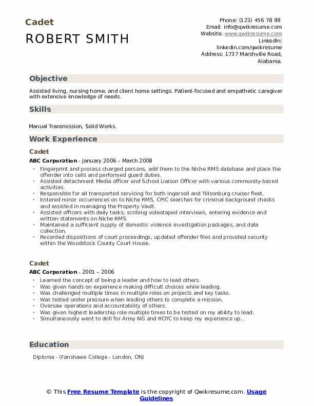 cadet resume samples  qwikresume