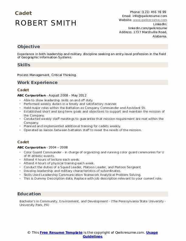 Cadet Resume example
