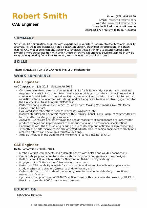 CAE Engineer Resume example