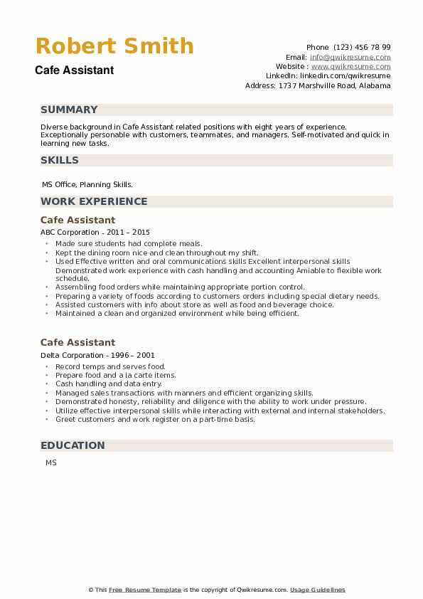 Cafe Assistant Resume example