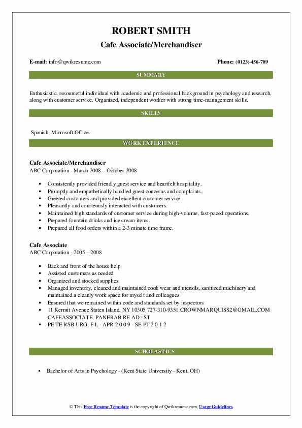 Cafe Associate/Merchandiser Resume Sample