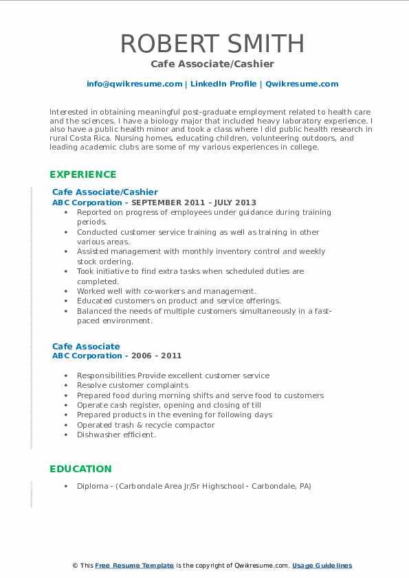 Cafe Associate/Cashier Resume Example