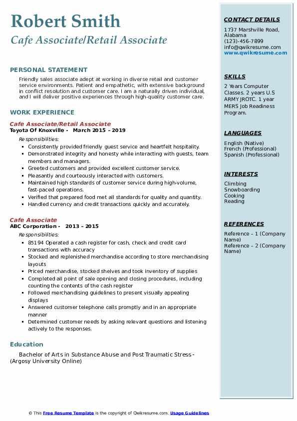 Cafe Associate/Retail Associate Resume Sample