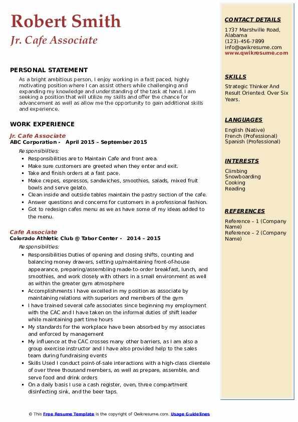 Jr. Cafe Associate Resume Format