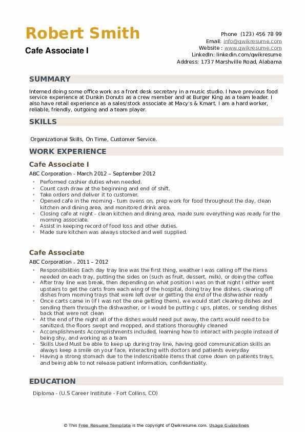 cafe associate resume samples