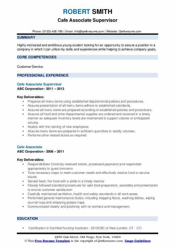 Cafe Associate Supervisor Resume Model