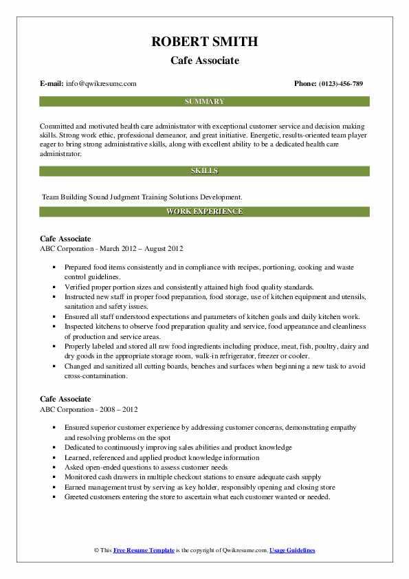 Cafe Associate Resume example
