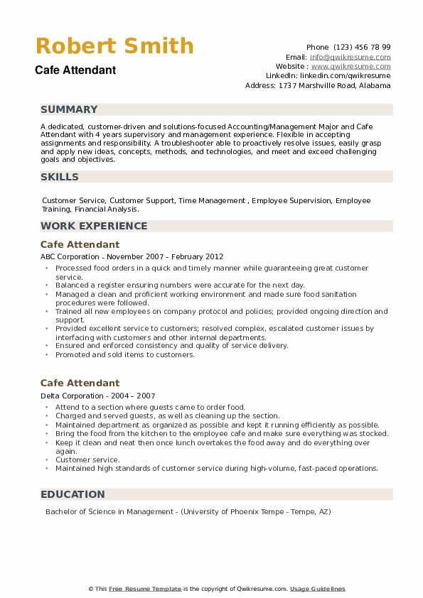 Cafe Attendant Resume example