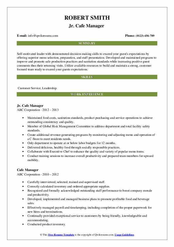 Jr. Cafe Manager  Resume Format