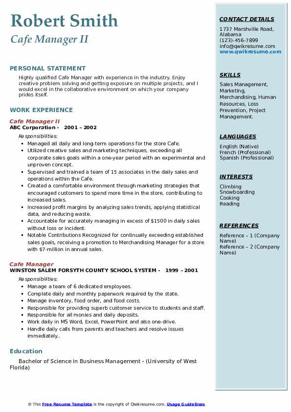 Cafe Manager II Resume Format