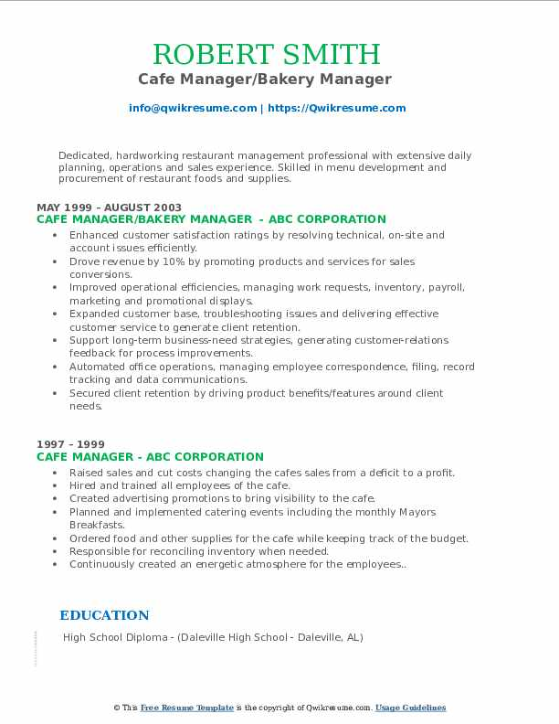 Cafe Manager/Bakery Manager  Resume Example
