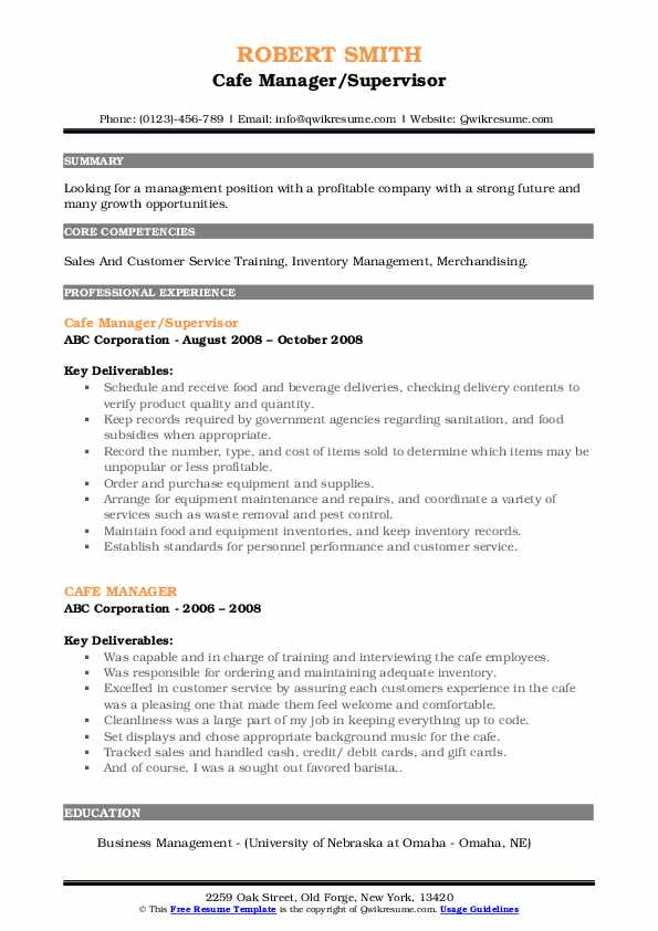 Cafe Manager/Supervisor Resume Example