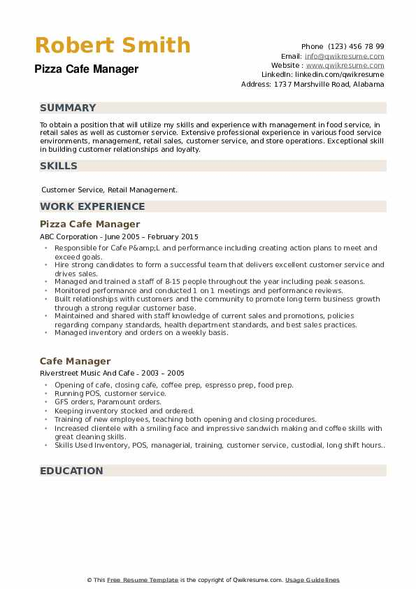 Pizza Cafe Manager Resume Template