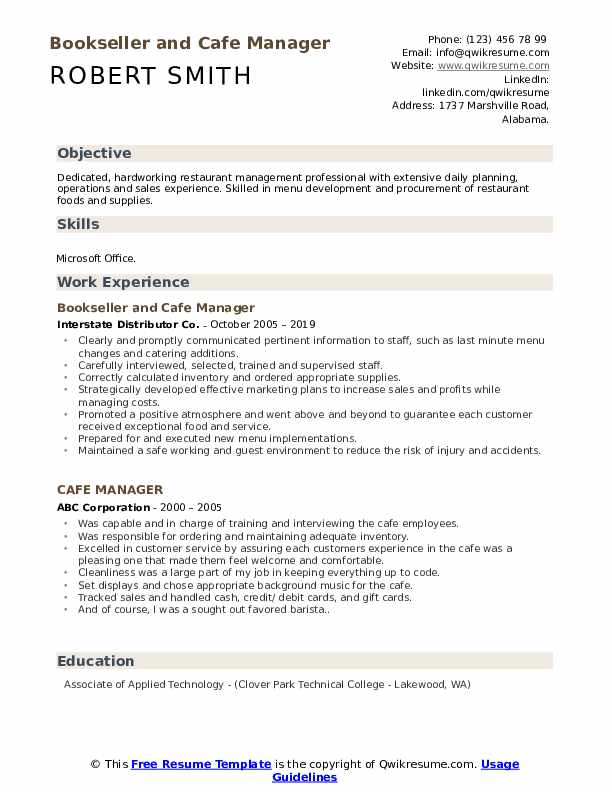 Bookseller and Cafe Manager Resume Format