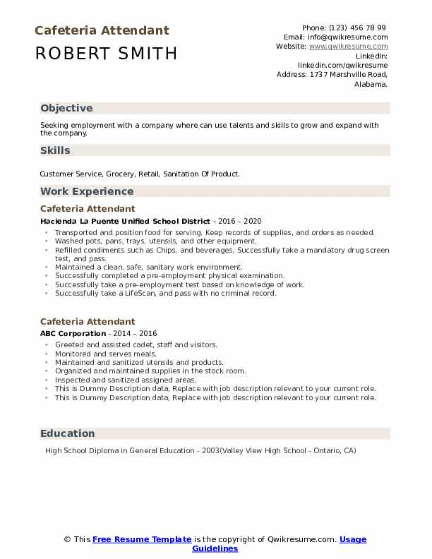 Cafeteria Attendant Resume example