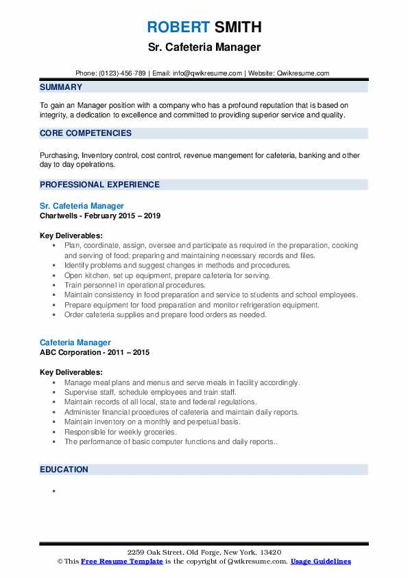 Resume for cafeteria manager academic writing course jordan