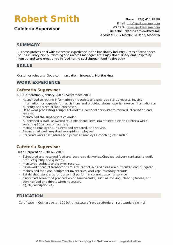 Cafeteria Supervisor Resume example