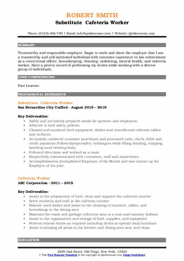 Substitute  Cafeteria Worker Resume Sample